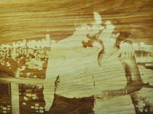 Laser Etched Wedding Photo